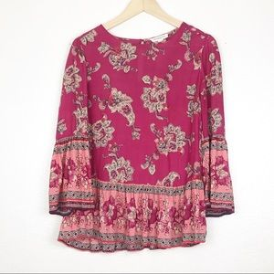 Beach Lunch Lounge Pink Paisley Bell Sleeve Blouse